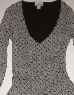 Ann Taylor LOFT Brown Basket Weave Print Shirt Top Size Medium