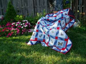 DVD OLD BLUE JEANS EMBROIDERED BUTTERFLY QUILT (QV7)