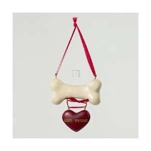 POLYRESIN DOG BONE W/ BEST FRIEND HEART ORNAMENT