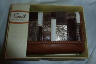 Fossil Brown Leather Compact Clutch Coin Wallet NWT