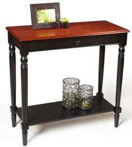 French Country Cherry/Black Wood Foyer Entry Hall Table 095285409341