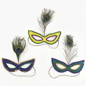 Mardi Gras Sequin Masks With Peacock Feathers   Costumes & Accessories