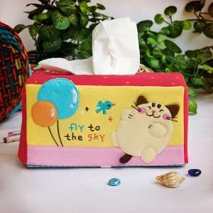 [Cat & Balloon] Embroidered Applique Fabric Art Tissue Box