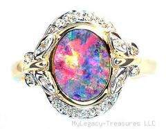 opal 16 diamonds 14K gold ring rare floral Australian opalo