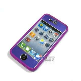 Purple Aluminium Sticker Skin Cover+Bumper Case+Screen Protector For