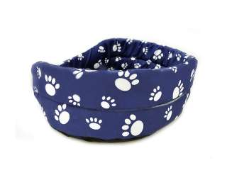 Cozy FUNKY Pet Cat Dog Bed   BLUE WHITE PAW Large SIZE 5