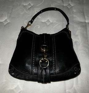 COACH HAMPTONS VINTAGE BLACK LEATHER WHITE STITCHED LARGE HOBO TOTE