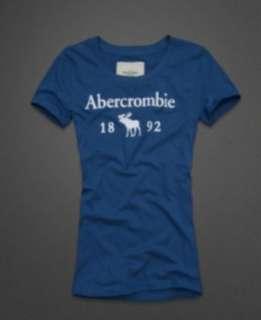 NWT Abercrombie Women Drew Graphic Tee T shirt Blue