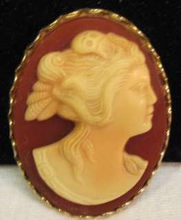 VINAGE RUBY RED GLASS~HARDSTONE SHELL CAMEO~PIN~BROOCH