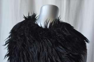 JUICY COUTURE*BIRD*Black Faux Furry Cape Vest NEW S