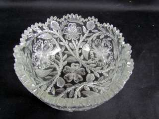 Brilliant Intaglio Cut Glass Bowl by Tuthill, Great Engraved design