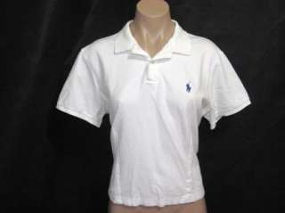 Ralph Lauren Womens White Short Sleeve Classic Fit Polo Shirt Top Size