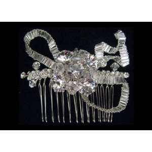 Pleated Silver and Rhinestone Hair Comb Beauty