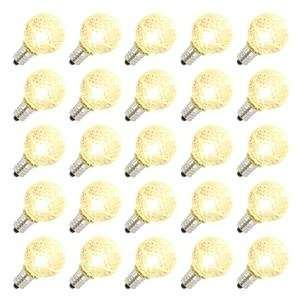 G30 Candelabra Screw Base Warm White LED Faceted 25 Pack Christmas