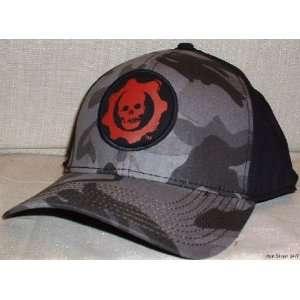GEARS OF WAR Black Cameo Logo Flex Fit Baseball Cap HAT