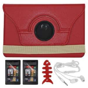 Skque Red Rotating Leather Case with Stand with 2 Pack