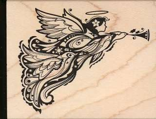 CHRISTMAS ANGEL wood mounted RUBBER STAMP Brand NEW horns angels