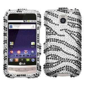 Black Zebra Skin Diamante Protector Cover for LG MS690