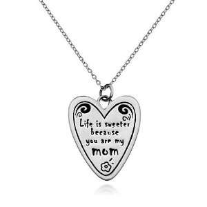 mom Heart Pendant Necklace 18, Love Jewelry Gift for Mom, Gift for