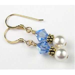 Earrings September Sapphire Pearl Swarovski Crystal Elements   1 Inch