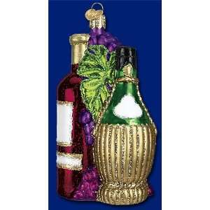 FRUIT OF THE VINE Wine Bottles Glass Ornament Old World