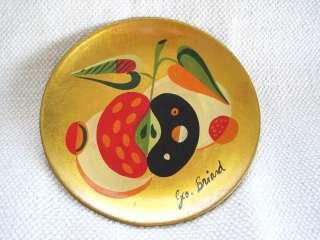 Mint Georges Briard Folk Art Apples Mid Century Retro Modern Signed