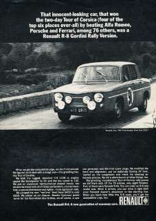 1966 Renault R 8 R8 Gordini Vintage Advertisement Ad