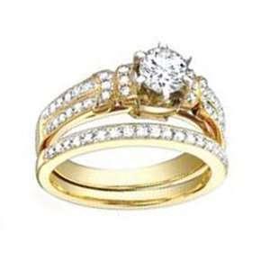 1 Carat Diamond 18k Yellow Gold Designer Bridal Set Ring Jewelry