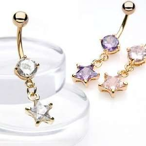 Gold Plated Belly Ring with Pink Star Shaped Cubic Zirconia   14G   3