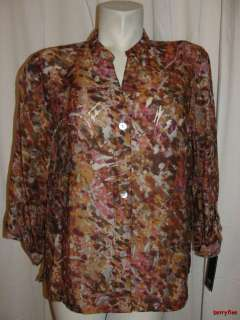 NEW LARK LANE Wine Brown Pink Natural Element Blouse Shirt Size 16 XL