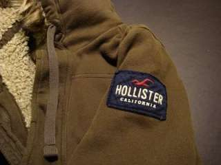 hollister mens button down fur hoodie color olive green super