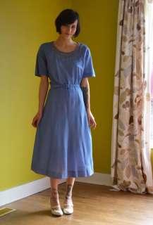 1950s vintage NOS periwinkle blue Belted Dress DETAILS XL