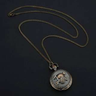 Retro Bronze Skull Pattern Quartz Necklace Pocket Watch Chain Fashin