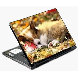 Universal Laptop Skin Decal Cover   Puppys Nap Time