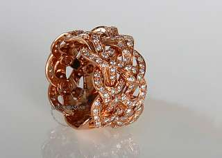 18K Rose Gold Versace Atelier Collection Diamond Weave Ring