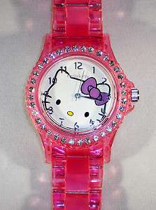 NEW Beautiful HELLO KITTY Transparent JELLY Watch Ships FAST from USA