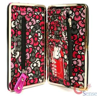 Hello Kitty Hinge Wallet Flat Wallt Loungefly Black Pink 5