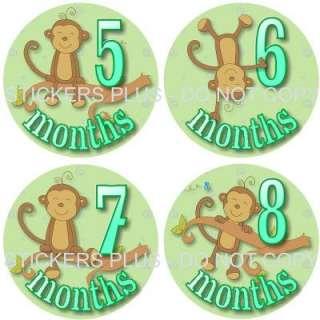 Monthly Baby Onesie Stickers Girl Boy Jungle Monkey