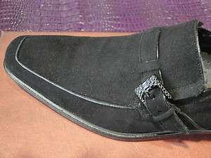 MEZLAN DRESS SHOE BLACK SUEDE MONK STRAP LOAFER SLIP ON BUCKLE