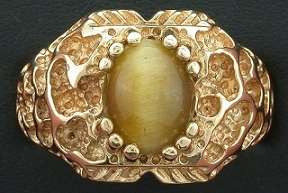 14Kt Solid Heavyweight Nugget Catseye Ring Gold Ring Size 11