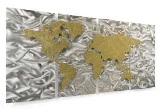Modern World Map Sculpture Abstract Metal Wall Art