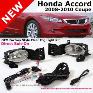 Honda Accord 08 10 Coupe OEM Factory Style Clear Bumper Fog Light Lamp