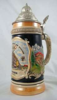 Munich Olympic Lidded Lustre Beer Stein Germany Hofbrauhaus