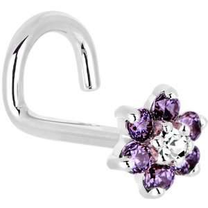 Solid 14KT White Gold Amethyst and Clear Cubic Zirconia Flower Left