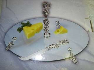SILVER PLATED 12 GLASS CHEESE PLATE w/ KNIFE NEW NIB