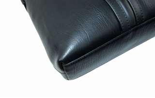 Cowhide Leather Case Briefcase Messenger Laptop Bag Black 14