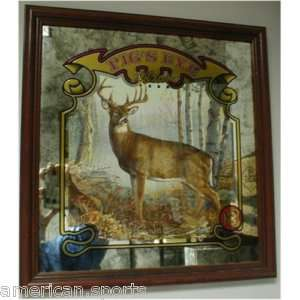 PIGS EYE BEER SIGN MIRROR DEER HUNTING WILDLIFE ART NEW