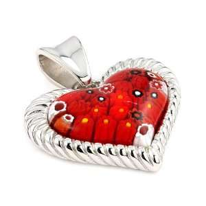 Millefiori Red Heart Pendant With Electroform Silver Frame