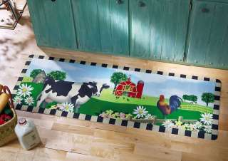 Country Home Kitchen Decor Rooster Cow & Barn Scenery Floor Runner Rug