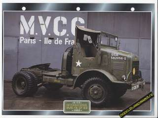 1944 INTERNATIONAL M426 Army WW2 TRUCK PHOTO SPEC SHEET